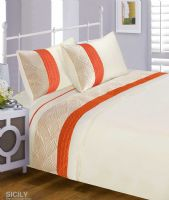 ORANGE & CREAM MODERN STYLISH QUILTED PATTERN DUVET QUILT COVER SET